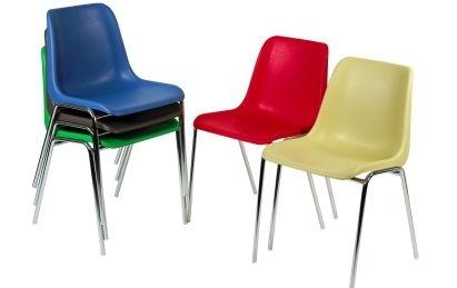 chaises coque plastique pietement chrome - Chaise Coque
